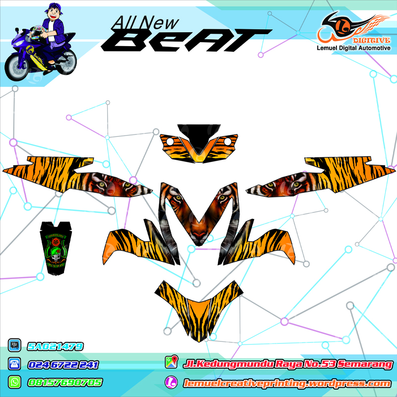 Custom decal vinyl striping motor full body honda new beat 2015 thema kostrad darma putra motif macan by digitive